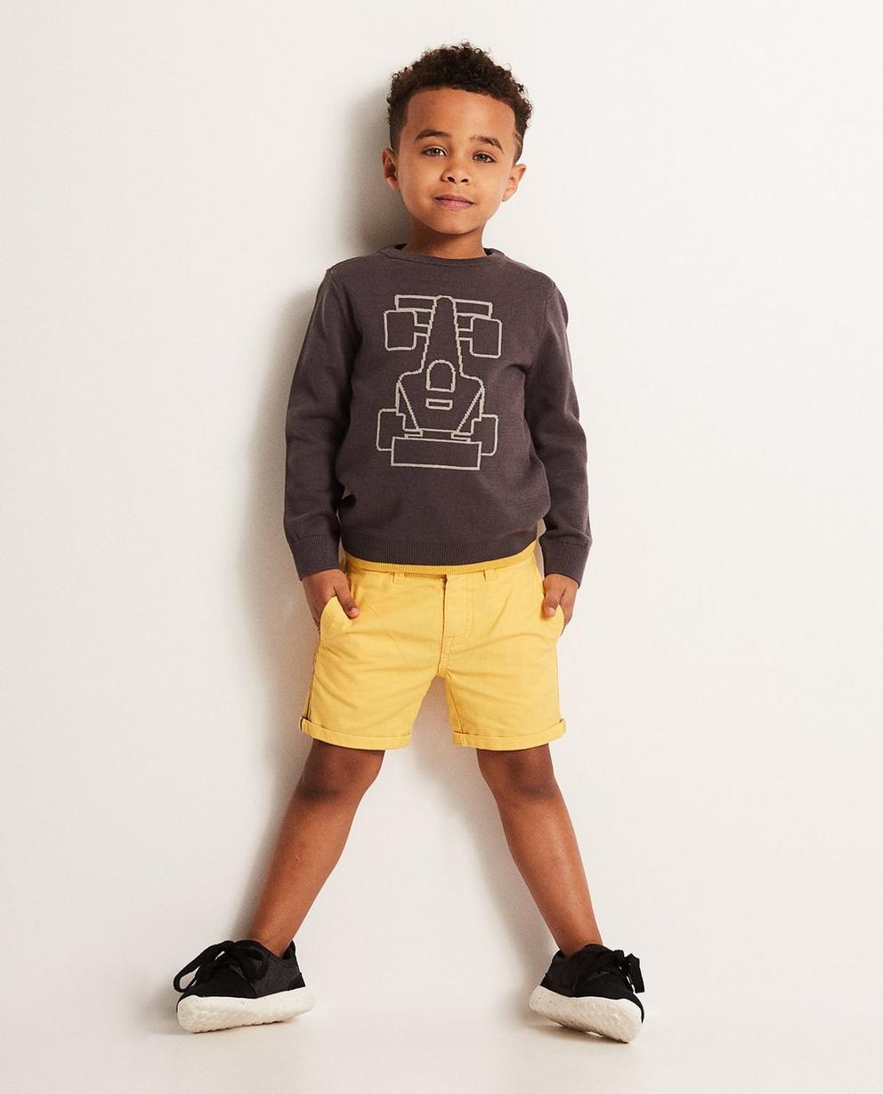 Sweatshirt mit Autoprint - und gelbes Zierelement - JBC